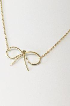 Bow necklace in gold, dainty jewelry
