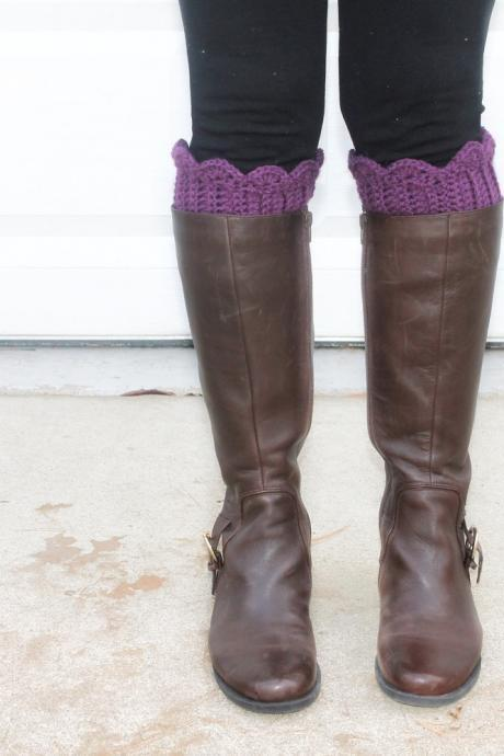 Scallop Boot Cuffs // Boot Socks in Mulberry Purple