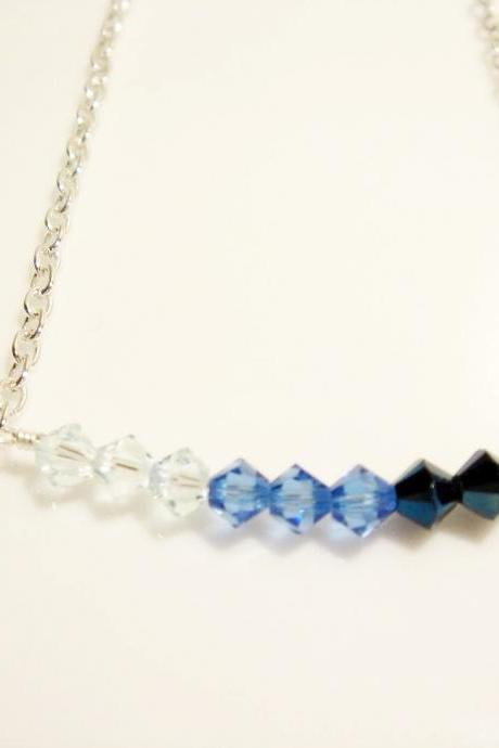 Blue Ombre Swarovski Crystal Sterling Silver Necklace