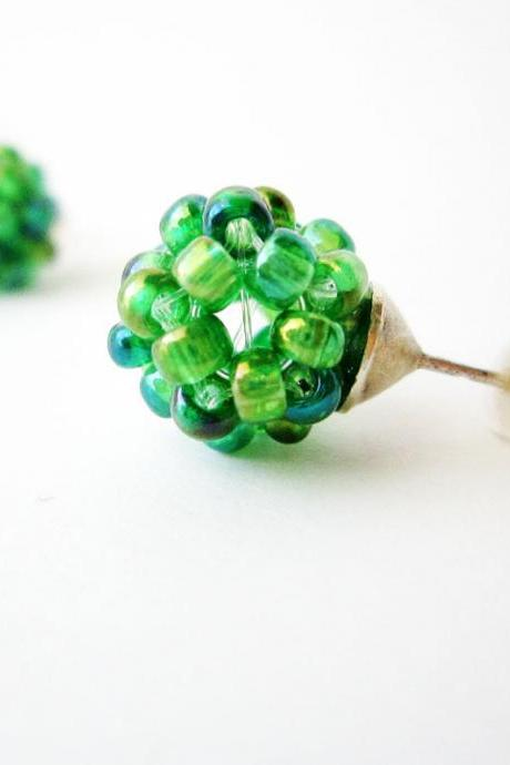 Green post earrings, iridiscent green earrings studs, small, cute, summer, spring fashion, ball, chemistry earrings