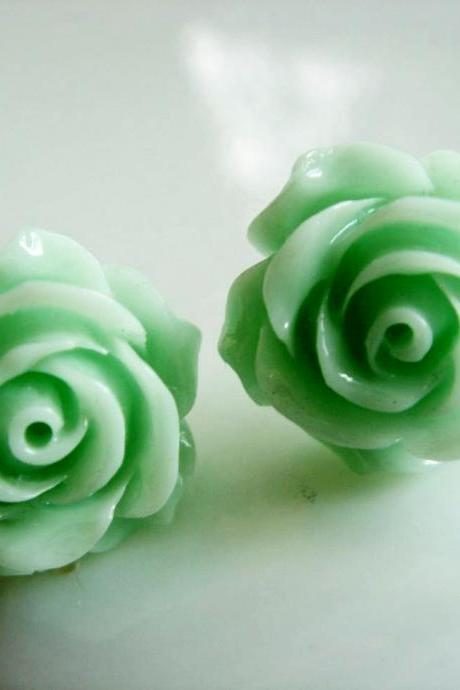 Mint Green Rose Stud Earrings