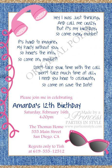 Call Me Maybe Printable Birthday Invitation - DIY - Teen Tween