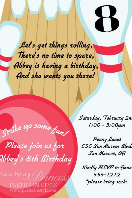 Bowling Birthday Party Printable Invitation - DIY - Pink