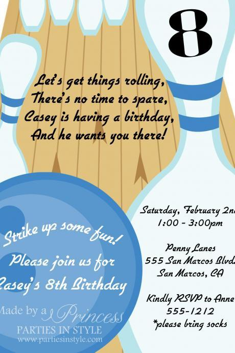 Bowling Birthday Party Printable Invitation - DIY - Blue