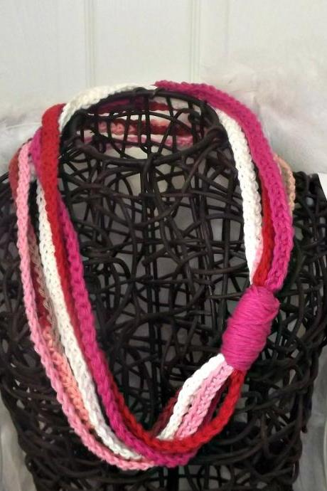 Scarf Necklace, crochet multi strand in pink, ivory, and red cotton