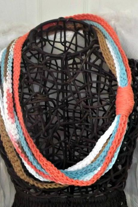 Scarf Necklace, crochet multi strand in peach, blue, and brown cotton