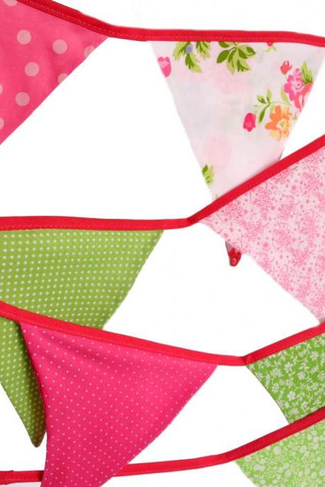 Eco-Friendly Reusable Fabric Bunting, Banner, Pennant, Flag, Garland, Photo Prop, Decoration, Wedding - Garden Party in Pink and Green