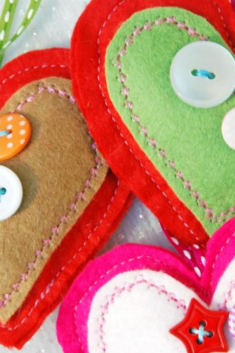 Three Felt Heart Decorations. Christmas Decoration. Happy Christmas to you.