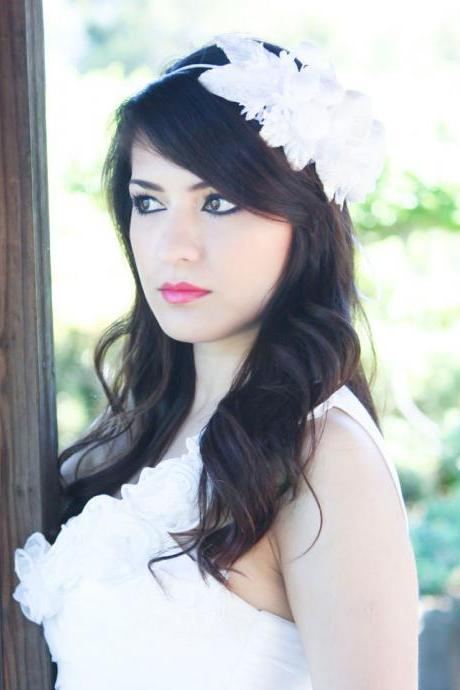 white bridal flower hair crown, woodland wedding, white flower, milinery flowerwedding hair accessories