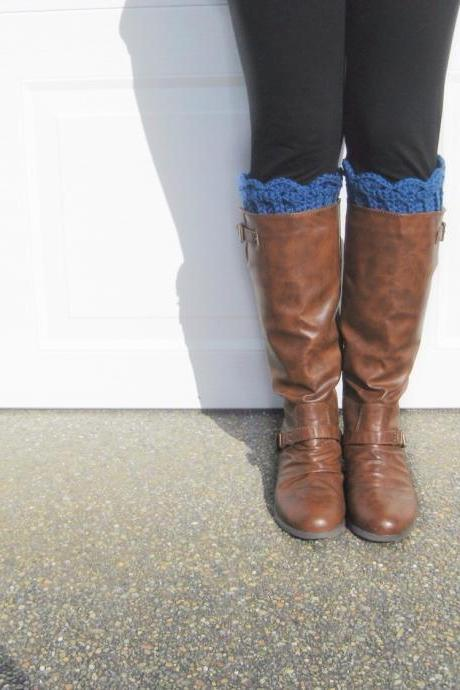 Scallop Boot Cuffs // Boot Socks in Royal Blue
