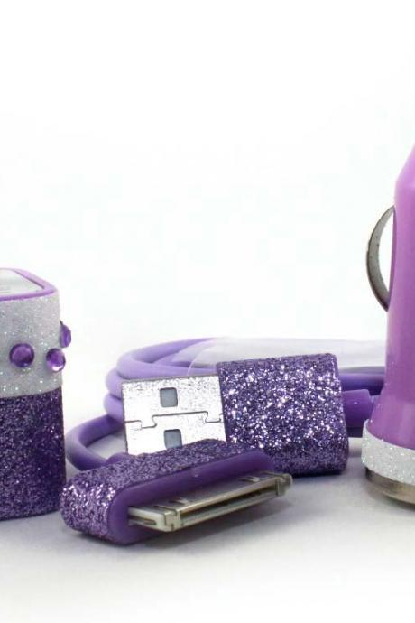Tropical Island inspired purple and white iphone charger set - also compatible with ipads and ipods