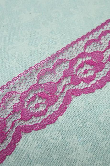1 yard of 1 1/4 inch Fuschia Pink Chantilly lace trim for bridal, baby, wedding, valentines, romantic, couture by MarlenesAttic - Item Q3