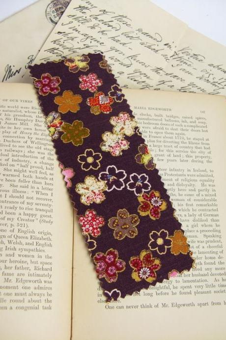 Flowers on Purple fabric bookmark