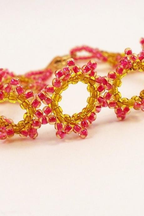 Summer Sun Bracelet Pattern, Beading Tutorial in PDF