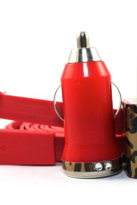Bejeweled Cheetah Print Red iPhone Charger