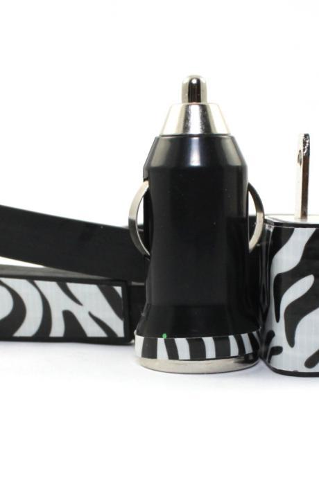 Zebra Print iPhone Charger - Extra Long - Approx 10 feet cable