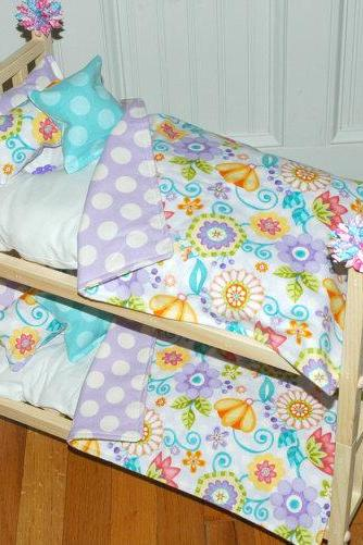 Doll Bunk Bed - Bunk Bed with Girls Only Bedding - Fits American Girl Doll and 18 inch dolls