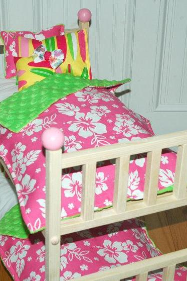 American Girl Doll Bed - Kanani Bunk Bed with Hawaiian Bedding - Fits American Girl Doll and 18 inch dolls