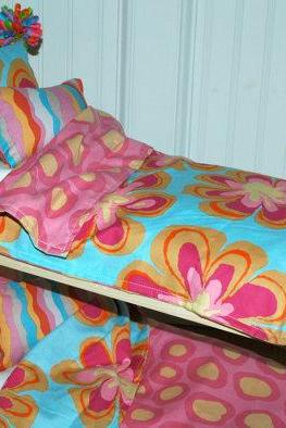 American Girl Doll Bed - Doll Bunk Bed Wacky Flowers and Dots - Fits American Girl Doll and 18 inch dolls