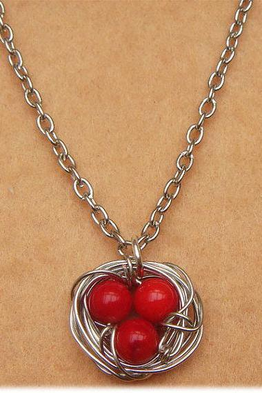 Nest and Red Coral Necklace