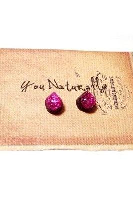 Pink Glitter Wooden Stud Earrings