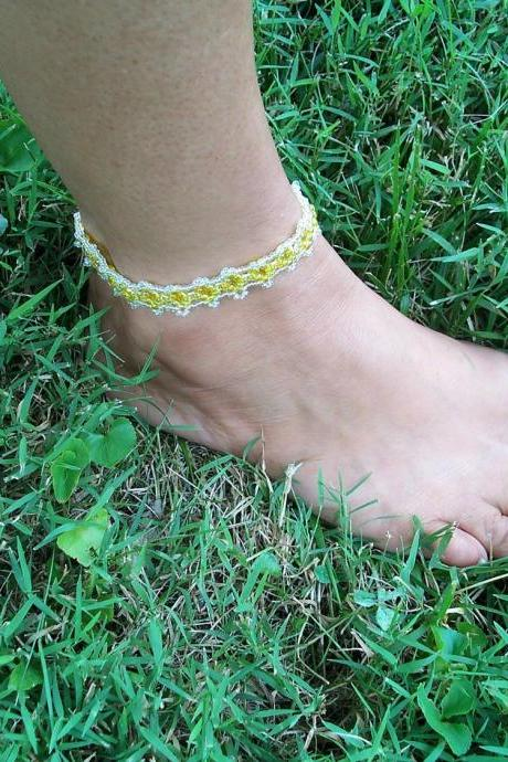 Tiny Diamond Anklet Pattern, Beading Tutorial in PDF