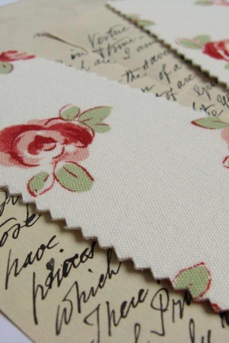 Bold Roses fabric bookmark
