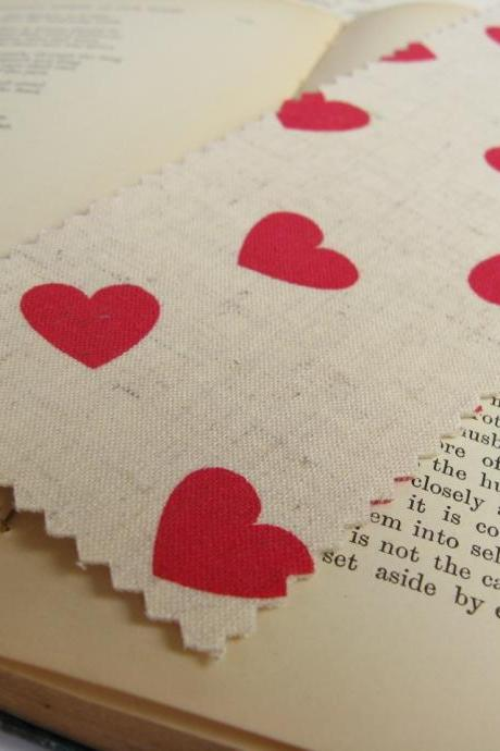 Hearts on Natural fabric bookmark
