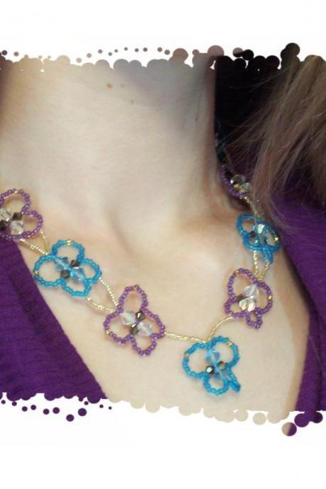 Butterfly Necklace Pattern, Beading Tutorial in PDF