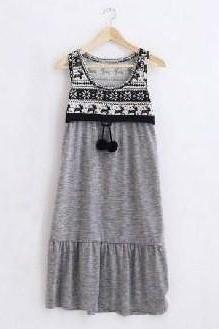 Fashion Style Fawn Pattern Sleeveless Dress, Size M