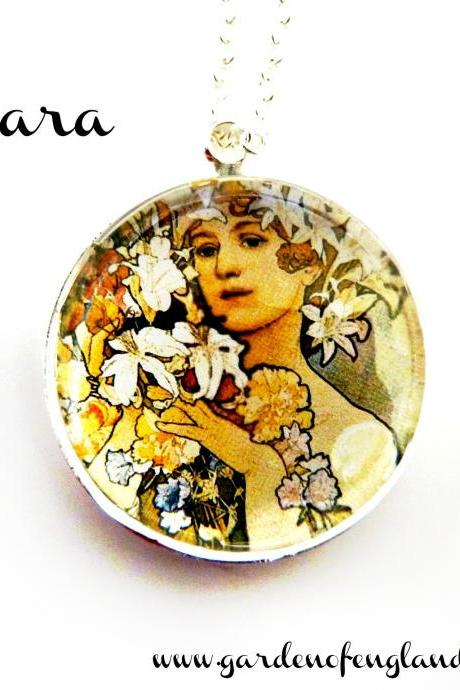 Art Nouveau Vintage Lady Barbara Necklace made with a glass cabochon and Tibetan Silver bezel, handmade