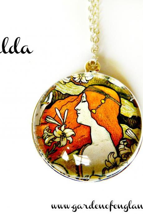Art Nouveau Vintage Lady Mathilda Necklace made with a glass cabochon and Tibetan Silver bezel, handmade