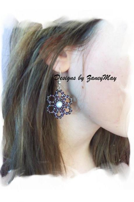 Once in a Blue Moon Earrings, Beading Tutorial in PDF