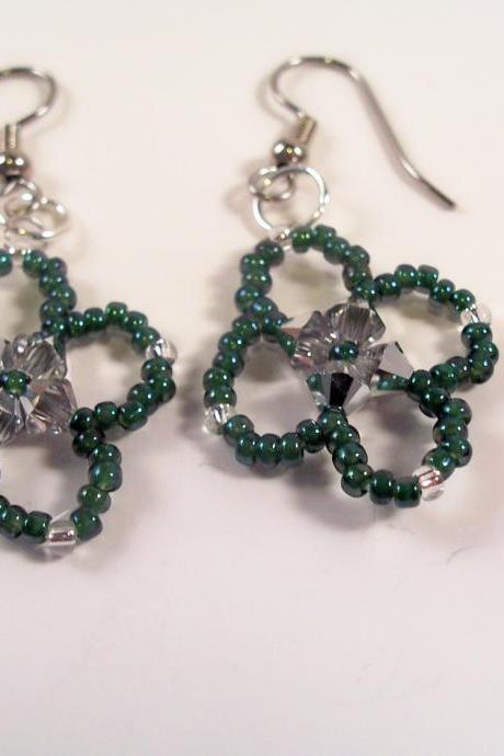 Four Leaf Clover Earring Pattern, Beading Tutorial in PDF