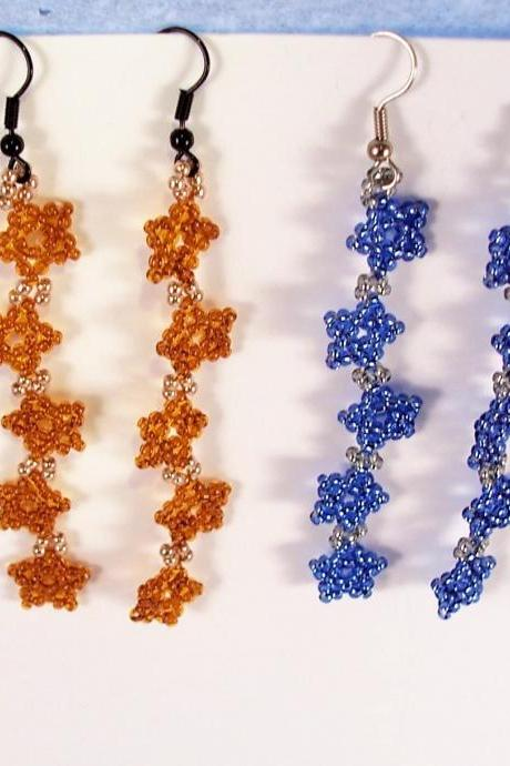 Falling Star Earring Pattern, Beading Tutorial in PDF
