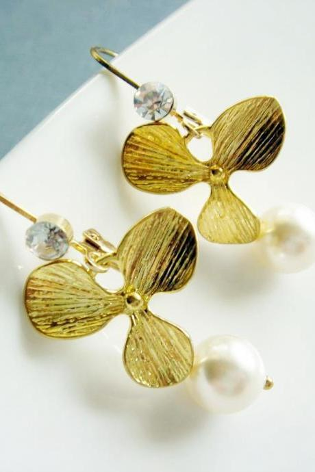 Bridal Golden Orchid and Pearl Earrings