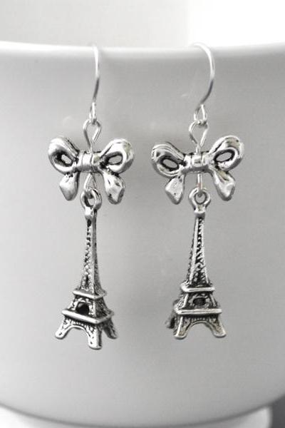 Antique Silver Eiffel Tower earrings, paris inspiration, bow, ribbon