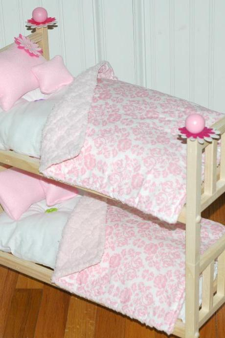 American Girl Doll Bed - Doll Bunk Bed Perfectly Pink - Fits American Girl Doll and 18 inch dolls