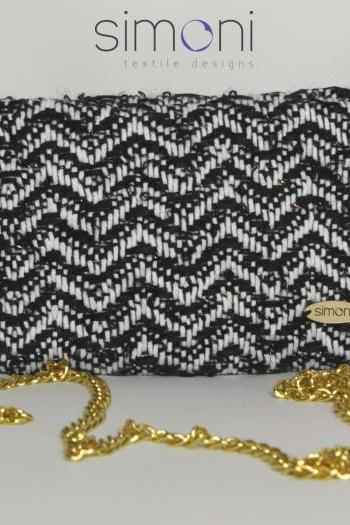 Black and White Hand-woven Mini Purse with chain
