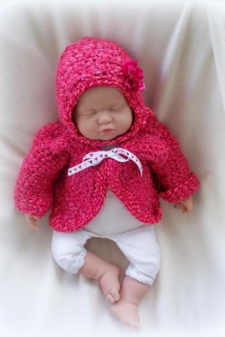 Little Red 0 to 6 Moths Sweater and bonnet set