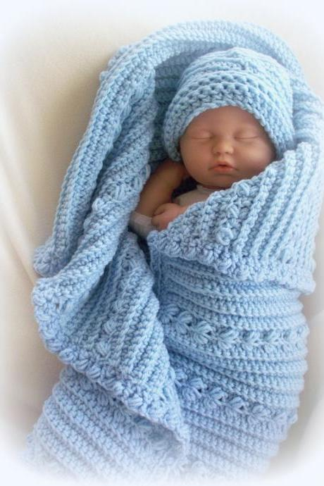 Snuggly Boy oversized baby blue receiving blanket and hat set