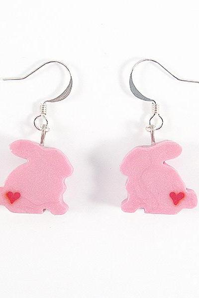 Clay Sculpted Pink Bunny Earrings with Hearts