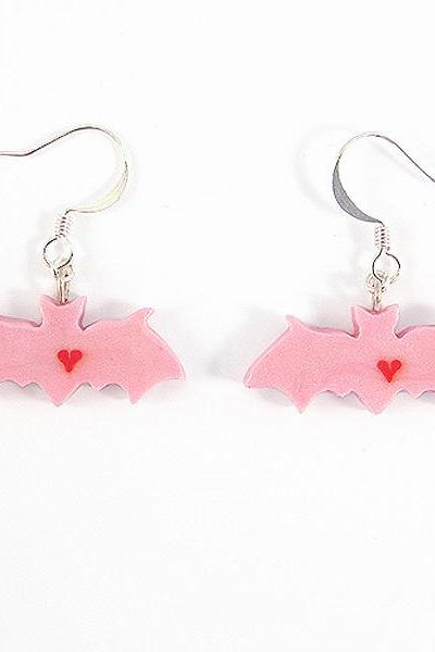 Clay Sculpted Pink Bat Earrings with Hearts