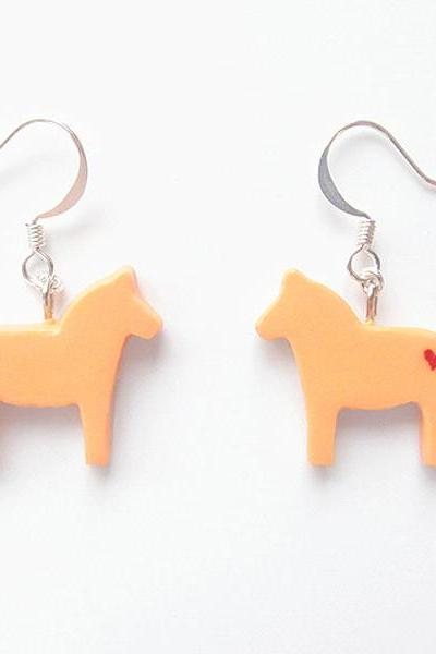 Clay Sculpted Orange Dala Horse Earrings with Hearts