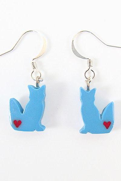 Clay Sculpted Blue Fox Earrings with Hearts