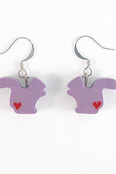Clay Sculpted Purple Squirrel Earrings with Hearts