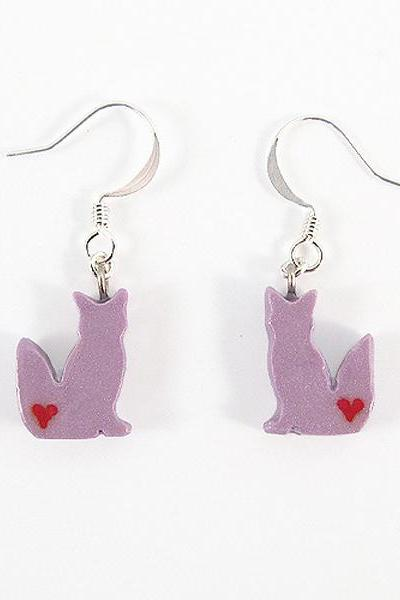 Clay Sculpted Purple Fox Earrings with Hearts