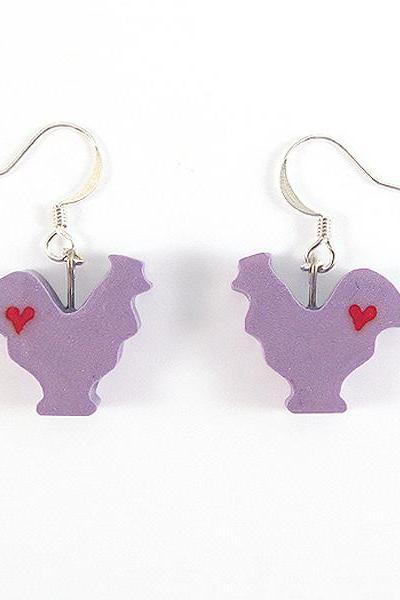 Clay Sculpted Purple Rooster Earrings with Hearts