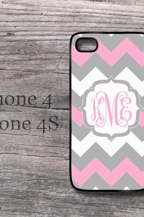 iPhone 4 4S case Pink and Gray geometric chevron monogram iPhone4 in case - available for iPhone 5