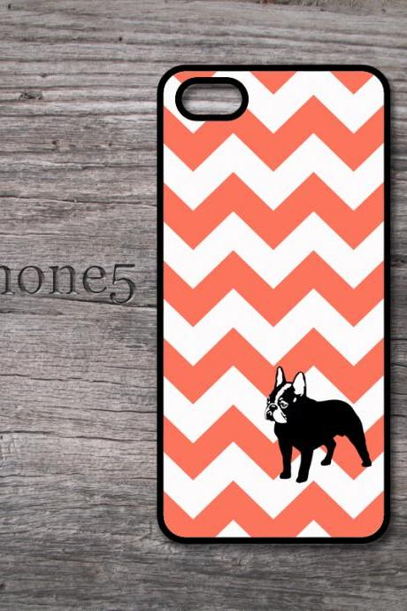 iPhone 5 Ornage chevron and black Bulldog snap on hard cover with monogram too for iphone5